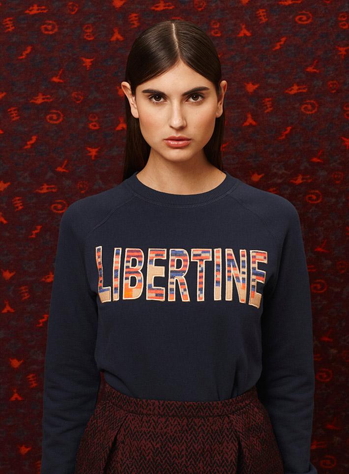 Libertine Libertine dámská modrá mikina, červené kalhoty