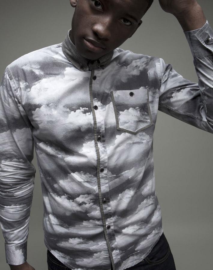 Volklore pánská šedá košile soblaky sdlouhým rukávem