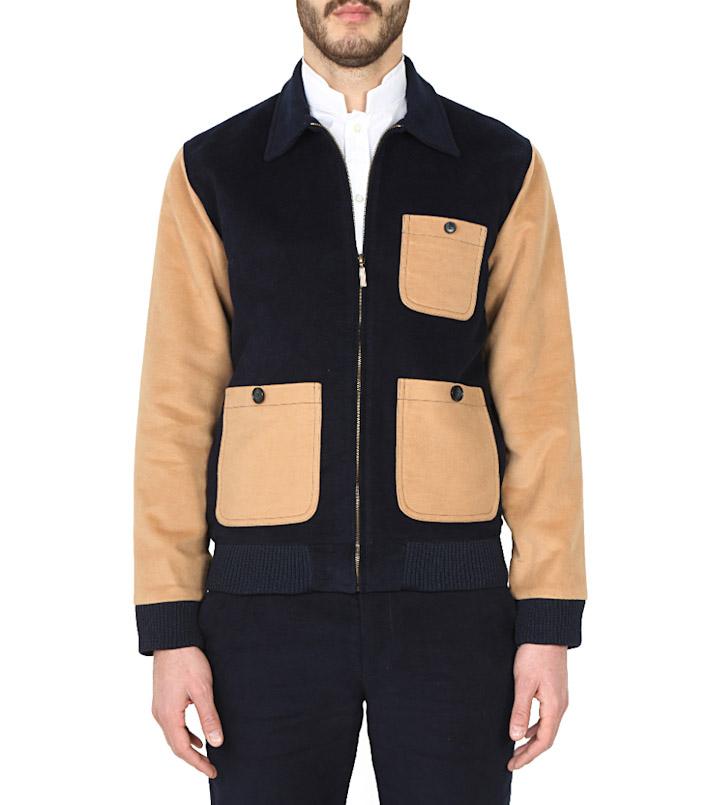 Commune de Paris pánská podzimní bunda do pasu, černo-hnědá