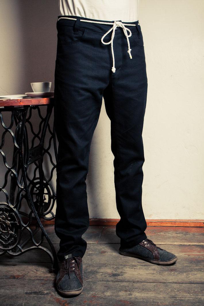 Pattern pánské černé kalhoty