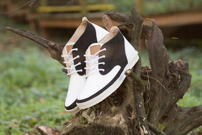 Splendix Shoes pánská obuv, kotníkové boty bílo černé, kožené