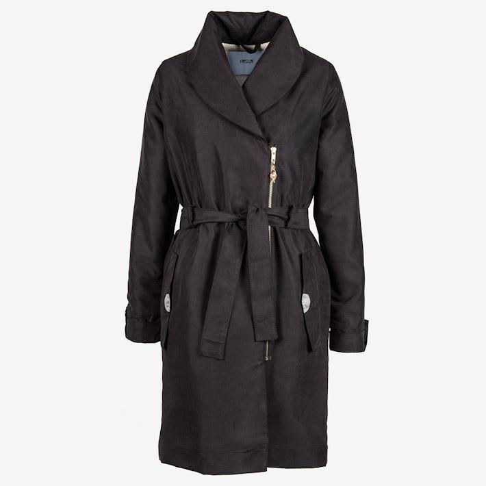 Frisur dámský černý teplý dlouhý kabát