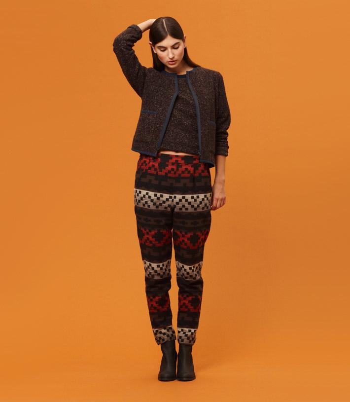 Libertine Libertine vzorované kalhoty, tmavě hnědý svetr