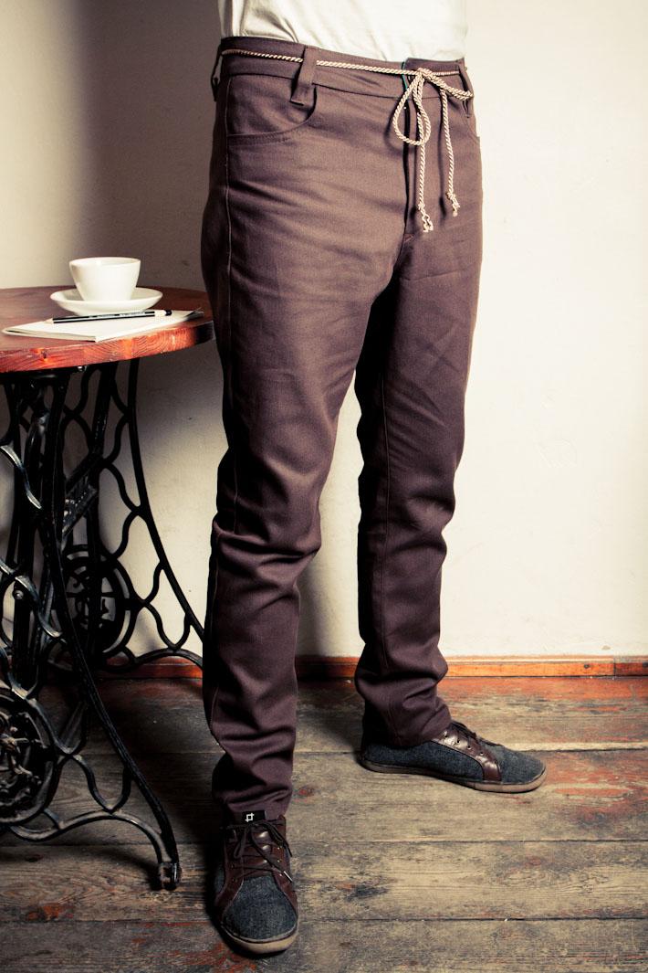 Pattern pánské hnědé kalhoty