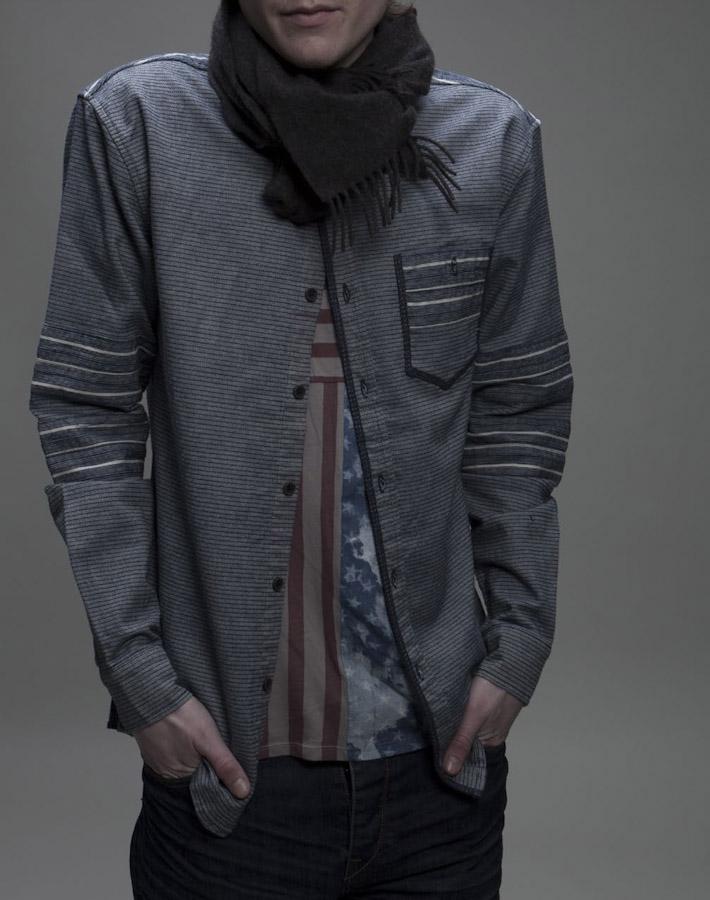 Volklore pánská pruhovaná košile šedé barvy, dlouhý rukáv