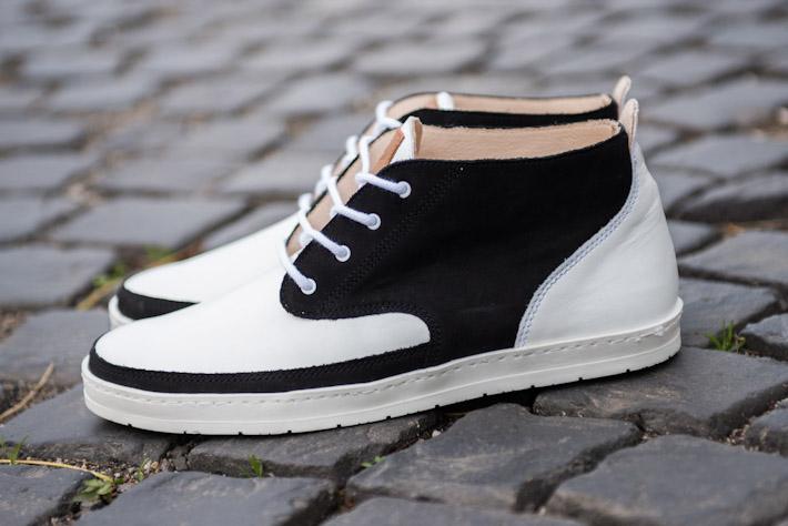 Splendix Shoes kotníkové boty pro muže, bílo-černé, kožené