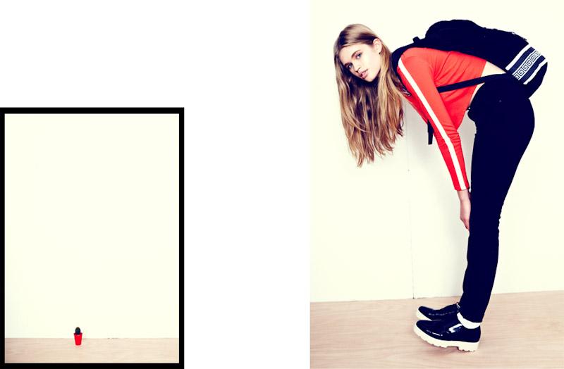 Lazy Oaf červená mikina, černé kalhoty, batoh