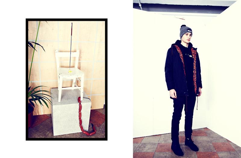Lazy Oaf pánská zimní bunda, černé kalhoty pánské