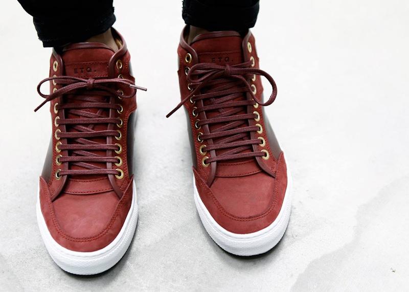 ETQ Amsterdam luxusní kotníkové boty červené barvy