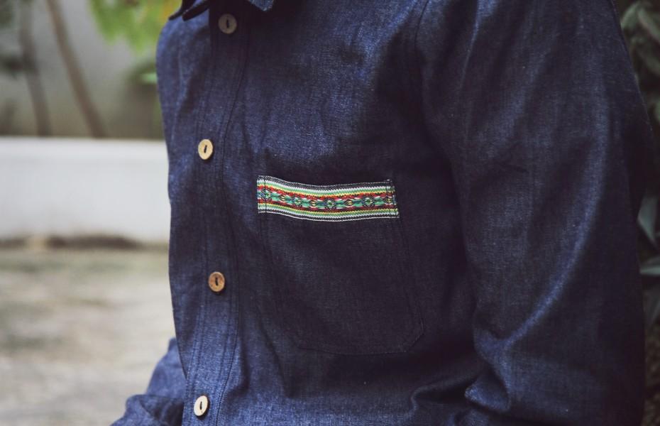 Apadana denimová košile sdlouhým rukávem