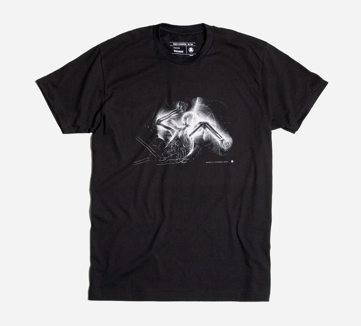 Ghostly International černé tričko spotiskem