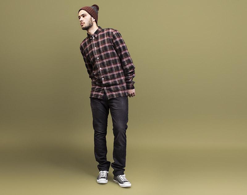 RVLT/Revolution – károvaná košile, pánská, tmavě šedé jeansy
