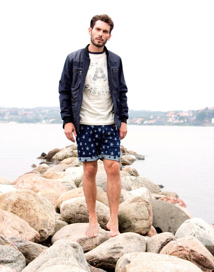 Anerkjendt – pánské šortky shvězdami, modrá jarní bunda