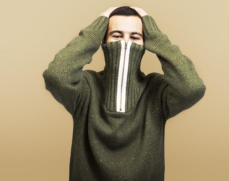RVLT/Revolution – zelený pletený svetr, pánský