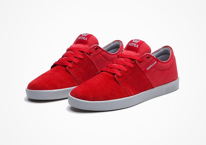 Boty Supra Stacks II – červené, semišové, textilní