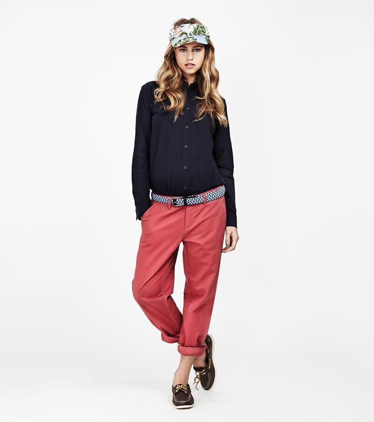 Penfield – dámská móda – černá košile, bordó kalhoty