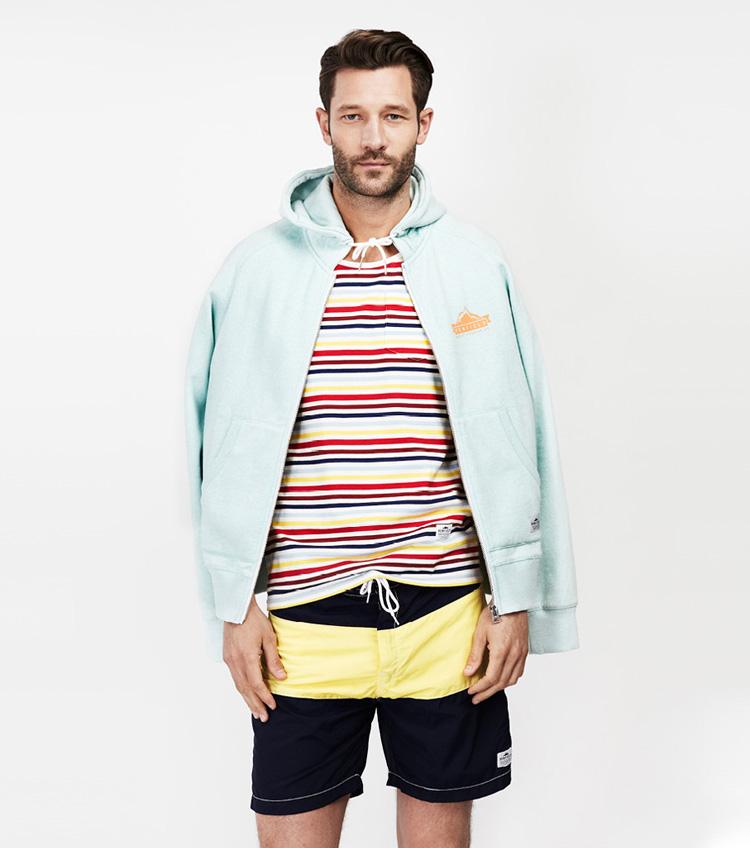 Penfield – pánská móda – mikina, pruhované tričko, šortky