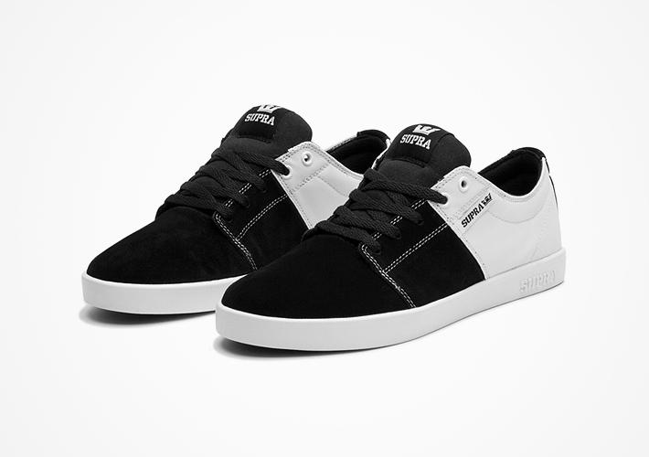 Boty Supra Stacks II – černo-bílé, semišové, textilní