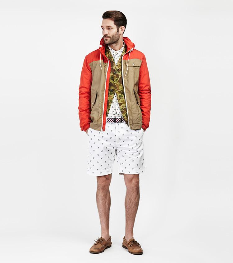 Penfield – pánská móda – jarní aletní bunda skapucí, bílé šortky