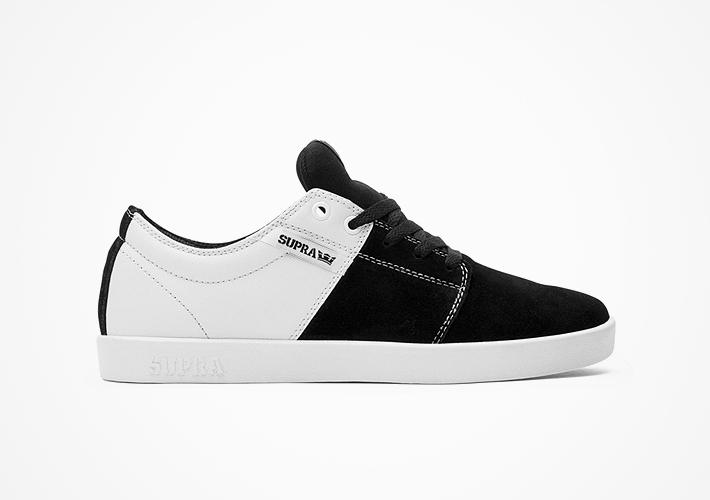 Černo-bílé boty Supra Stacks II – semišové, textilní