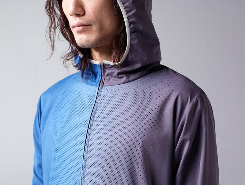Nike x Undercover Gyakusou – pánská modro-fialová běžecká bunda skapucí