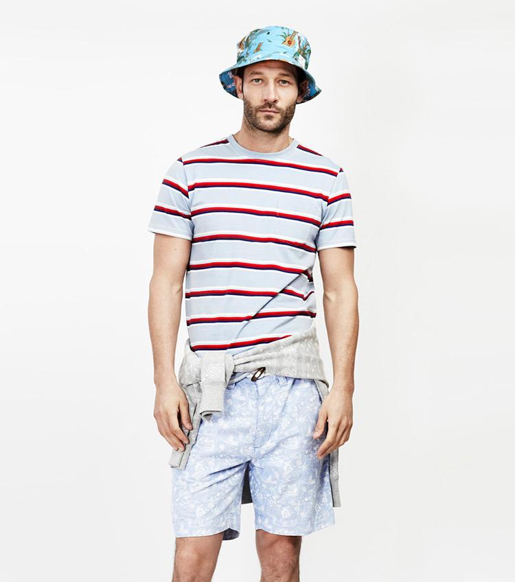 Penfield – pánská móda – pruhované tričko, šortky se vzorem