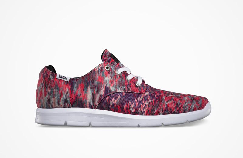 Boty Vans Mili Stripe Prelow – červené, fialové, se vzorem, 2014