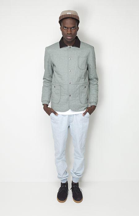 Ucon Acrobatics – pánské oblečení – bledě zelená bunda, bledě modré kalhoty