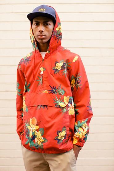 Obey – červená bunda skapucí, květinový vzor