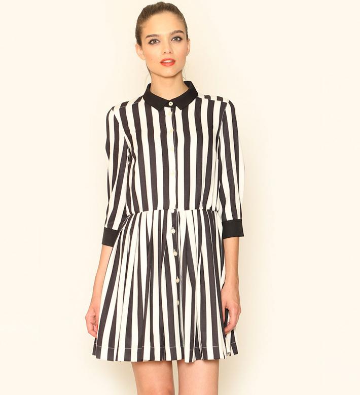 Pepa Loves – dámské oblečení – letní šaty slímečkem, černobílé, proužkované