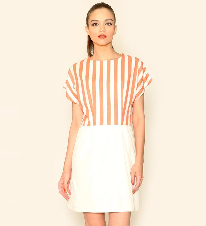Pepa Loves – dámské oblečení – letní šaty, oranžovo-bílé, proužkované