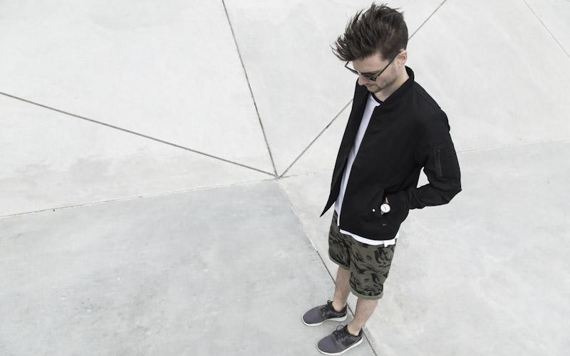 RVLT/Revolution – jarní bunda, pánská, černá, maskáčové šortky