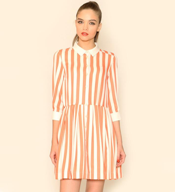 Pepa Loves – dámské oblečení – letní šaty slímečkem, oranžovo-bílé, proužkované