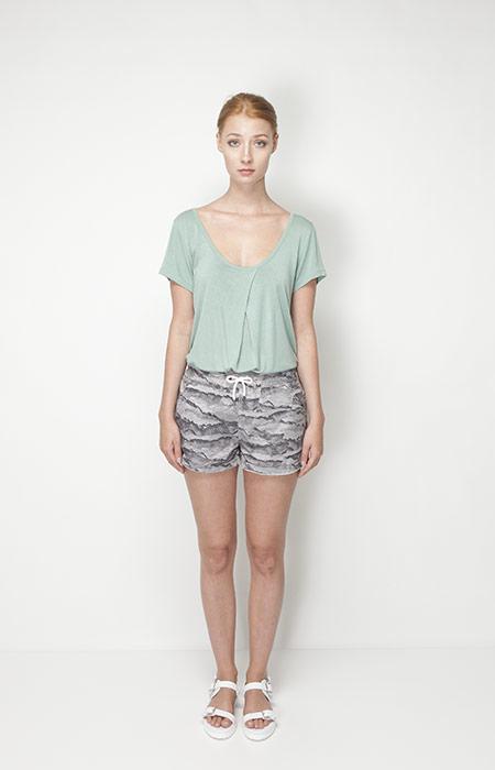 Ucon Acrobatics – dámská móda – světle zelené triřko, šortky se vzorem