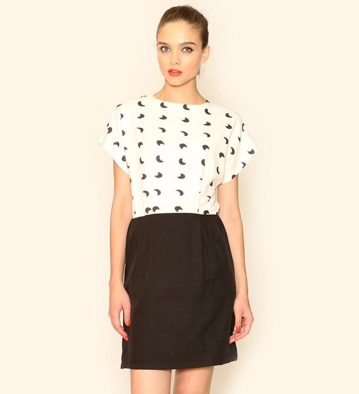 Pepa Loves – dámské oblečení – letní šaty, černobílé, vzor měsíc