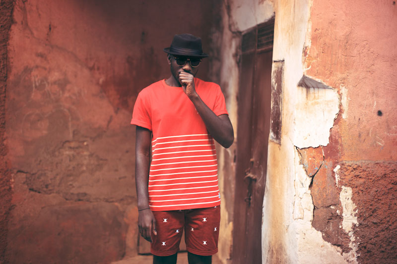 Daily Paper – pánské oblečení – červené tričko sproužky