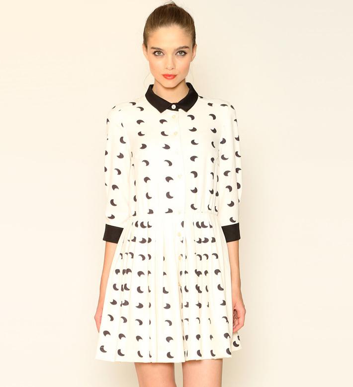Pepa Loves – dámské oblečení – letní šaty slímečkem, černobílé, vzor měsíc