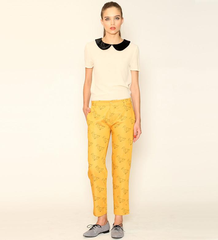 Pepa Loves – dámské oblečení – žluté kalhoty, blůza slímečkem