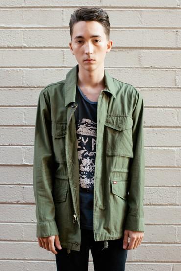 Obey – pánská tenká zelená bunda, jarní