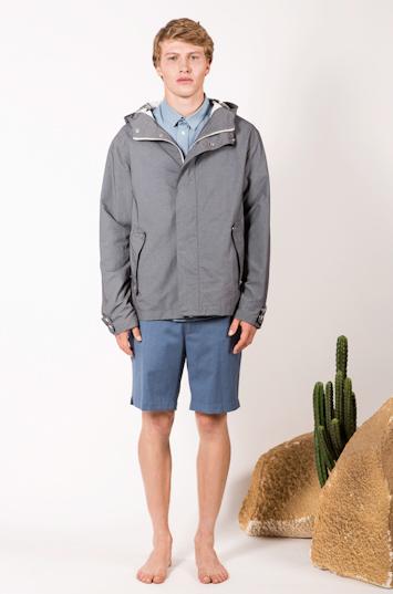 Frisur – pánské oblečení – šedá jarní bunda, modré šortky