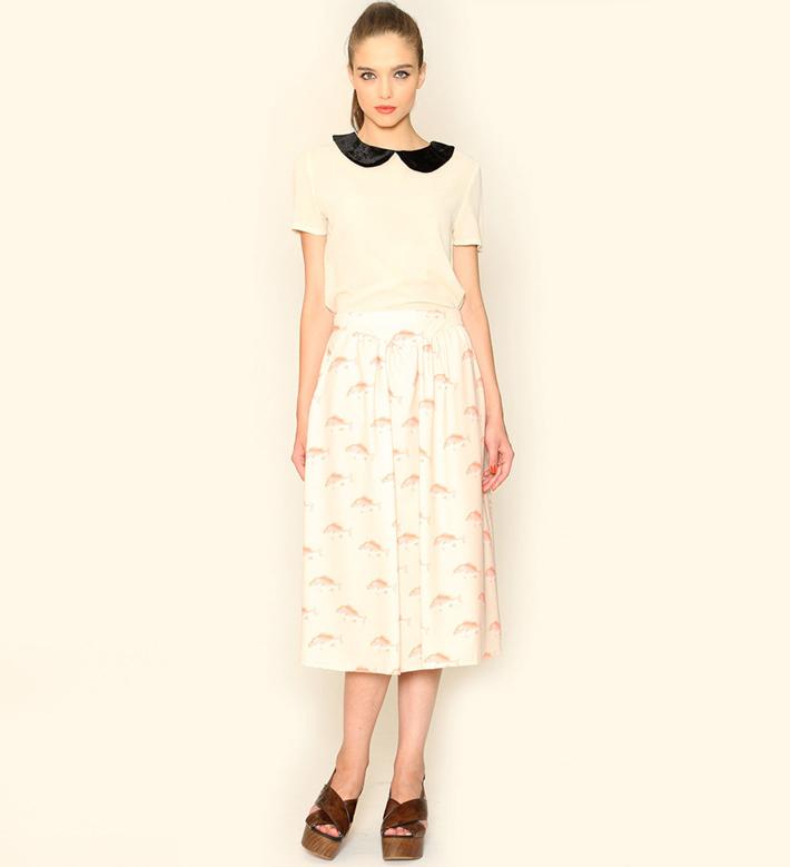 Pepa Loves – dámské oblečení – dlouhá sukně, vzor ryby, blůza slímečkem