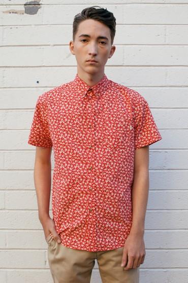 Obey – pánská červená košile, krátký rukáv