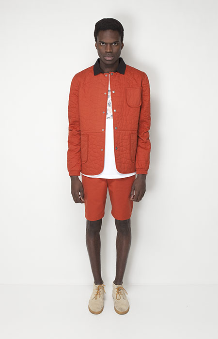 Ucon Acrobatics – pánská móda – oranžová jarní bunda, šortky