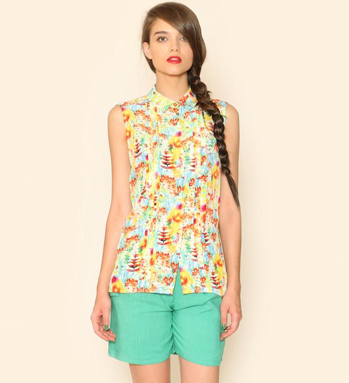 Pepa Loves – dámské oblečení – barevná košile, blůza, zeleno-modré šortky