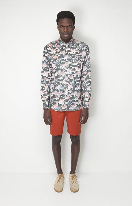 Ucon Acrobatics – pánské oblečení – košile se vzorem – dlouhý rukáv, oranžové šortky