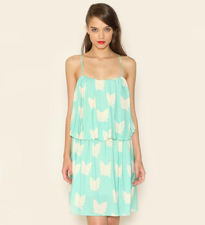 Pepa Loves – dámské oblečení – tyrkysové letní šaty, motiv kočky