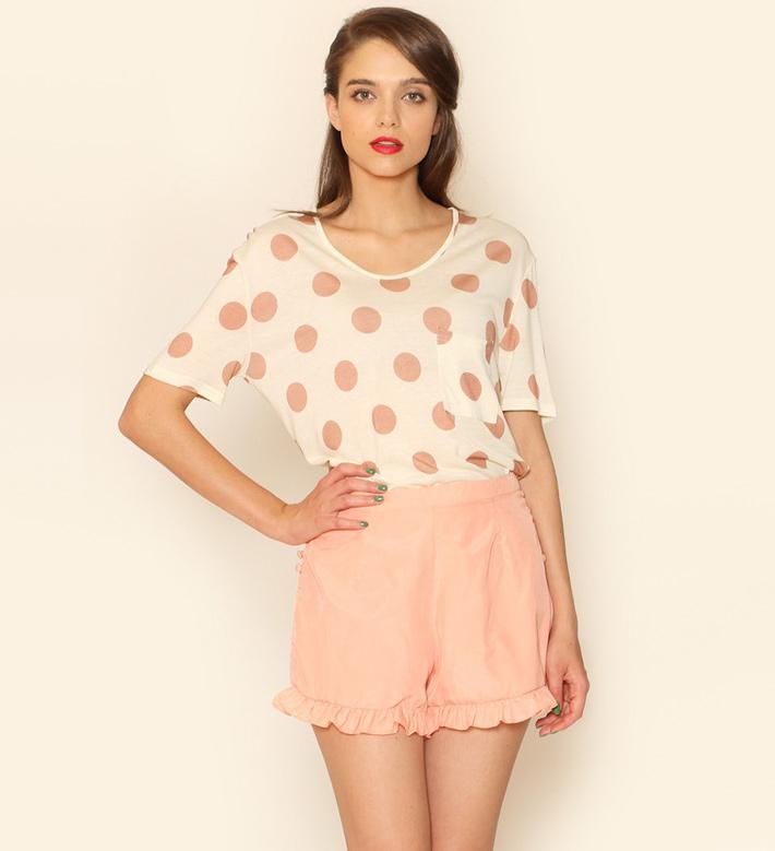 Pepa Loves – dámské oblečení – puntíkované tričko, šortky pleťové barvy