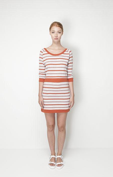 Ucon Acrobatics – dámská móda – pruhované letní šaty, oranžové, bílé