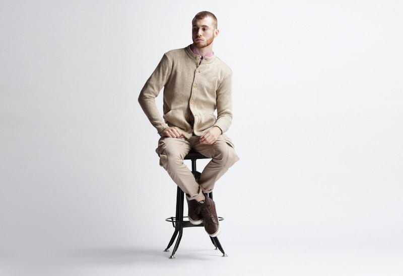 Publish – pánské oblečení – khaki svetr na zapínání, khaki kalhoty