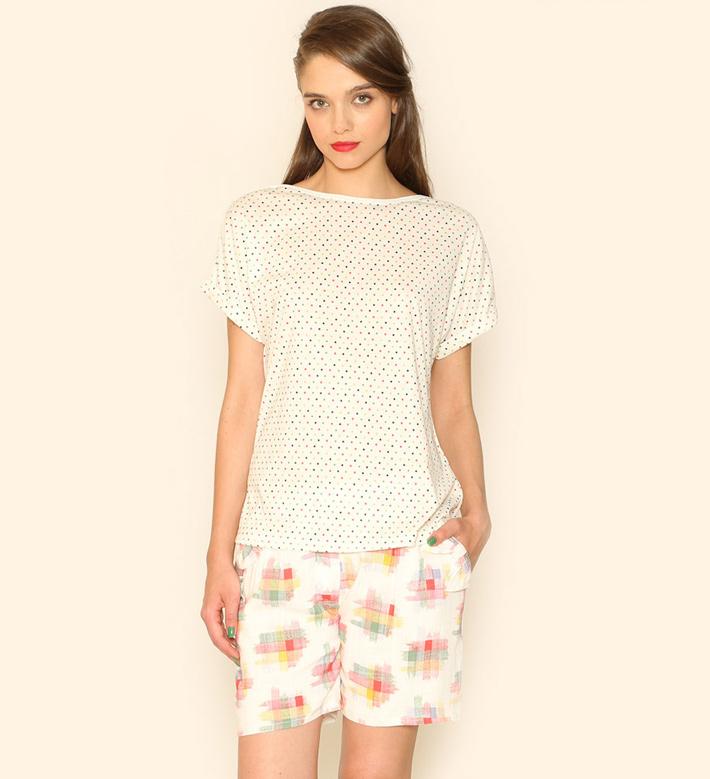 Pepa Loves – dámské oblečení – puntíkované tričko, barevné šortky